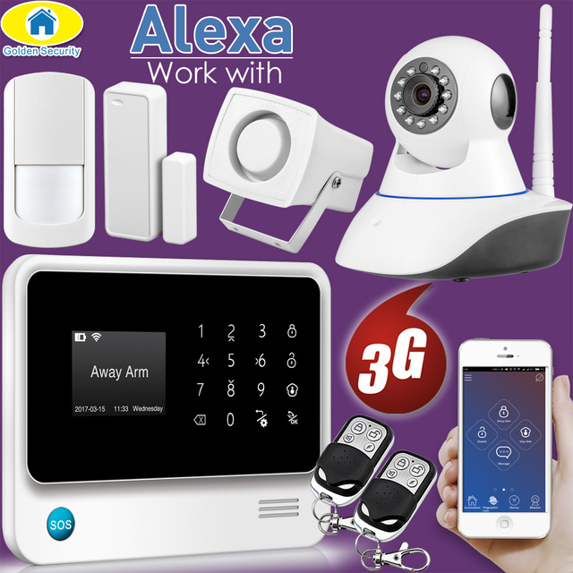 Cheap Golden Security 2018 Compatible Alexa WIFI 3G GSM Alarm system Wireless Home Security APP Remote Control Multi Language Switch