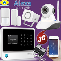 Golden Security Alexa Compatible WIFI 3G GSM IP Camera Integrated Wireless Home Security APP Remote Control Alarm system