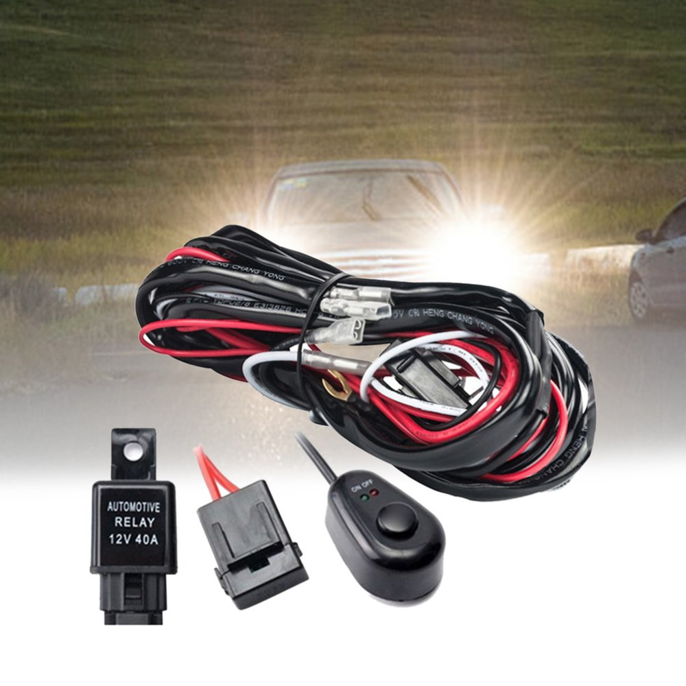 2.5M LED HID Driving Wiring Harness Kit Fog Spot Work Light Wire Set With 12V 40A Switch Relay Off-road Vehicle Supplies Top