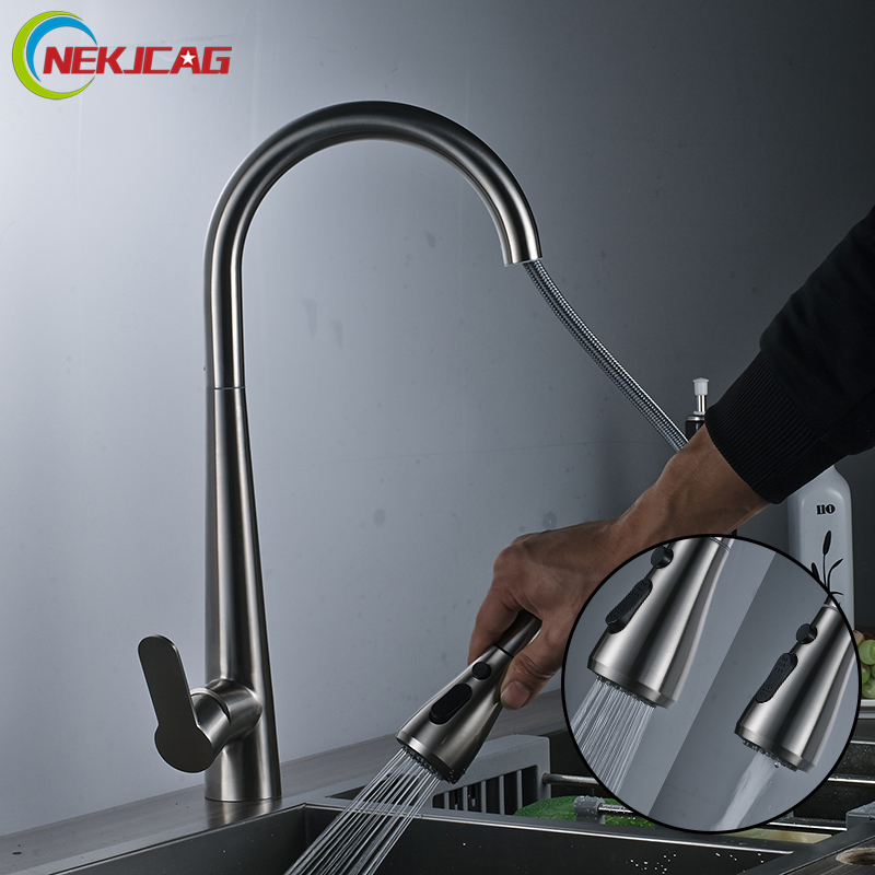 Stainless Steel Kitchen Faucet Single Handle Faucet Pull Out Spray Deck Mounted Sink Mixer Taps