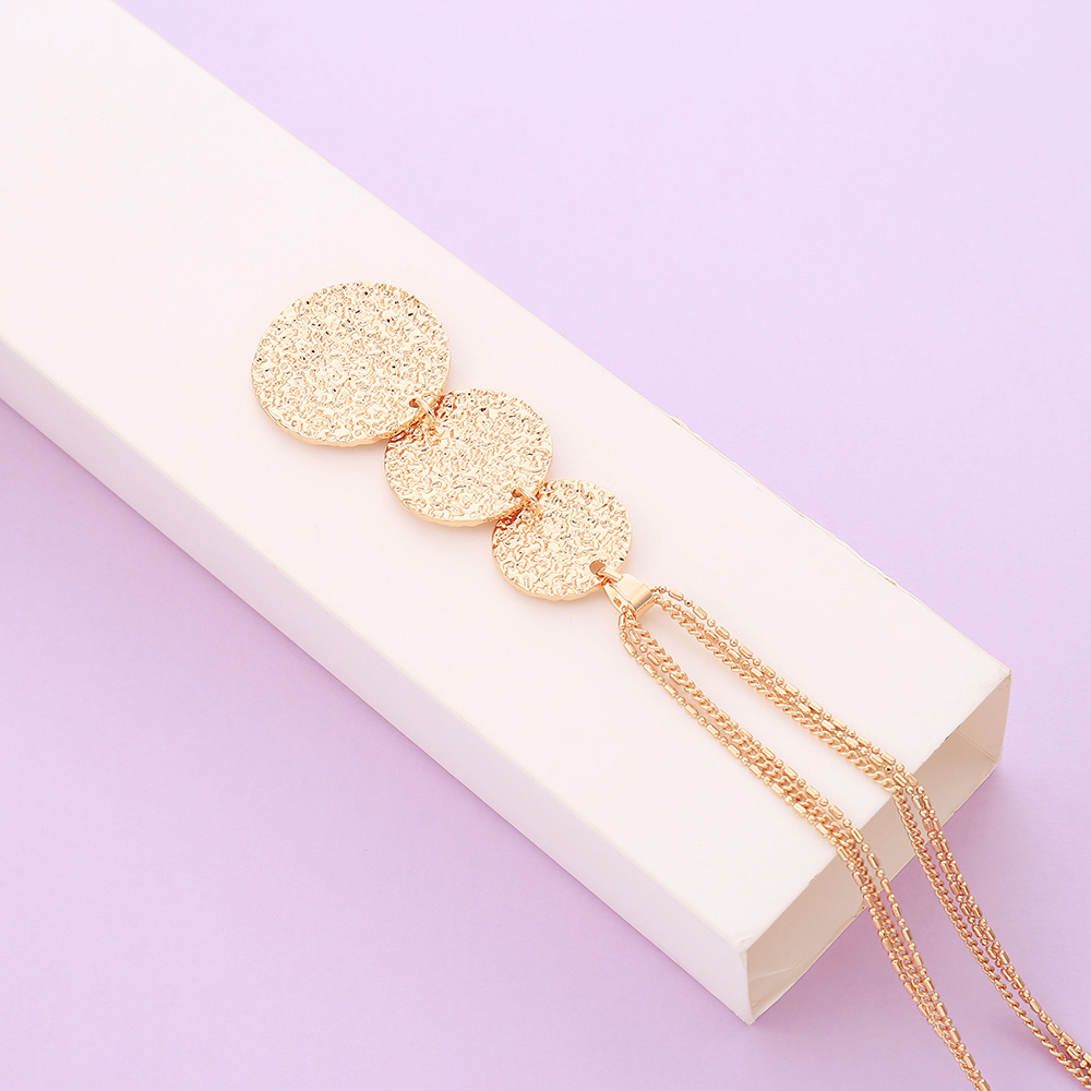 Gold Silver Mix Color Shining Round Pendant Necklace For Women Multi layer Chains Long Necklace Fashion Jewelry Vintage Collier in Pendant Necklaces from Jewelry Accessories