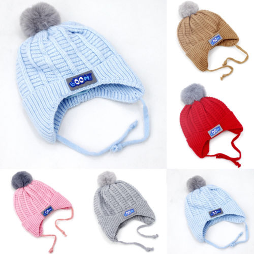9d4ccf03976 Aliexpress.com   Buy Baby Hat Large Pom Pom Bobble Chin Tie Winter Knitted  Warm Boy Girl 0 12 Months from Reliable Hats   Caps suppliers on hey