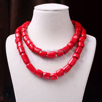 W&O655 >>>>>32 Inch Long Red Coral Pillow Bead Strand Fashion 2 Layers Chunky Bib Necklace
