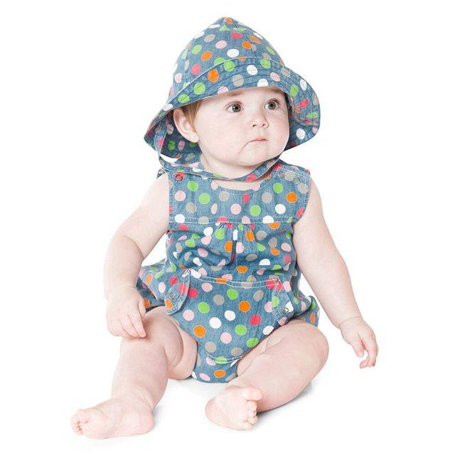 Auro mesa nova verão polka dot bebê meninas bodysuits com chapéu de moda infantil do bebê meninas clothing