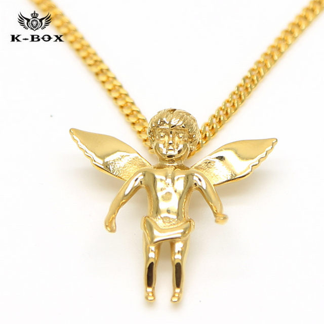 Online shop 4 design stainless steel gold iced out bling mini baby 4 design stainless steel gold iced out bling mini baby angel piece wings pendant 24275 miami cuban chain necklace kbox mozeypictures Choice Image