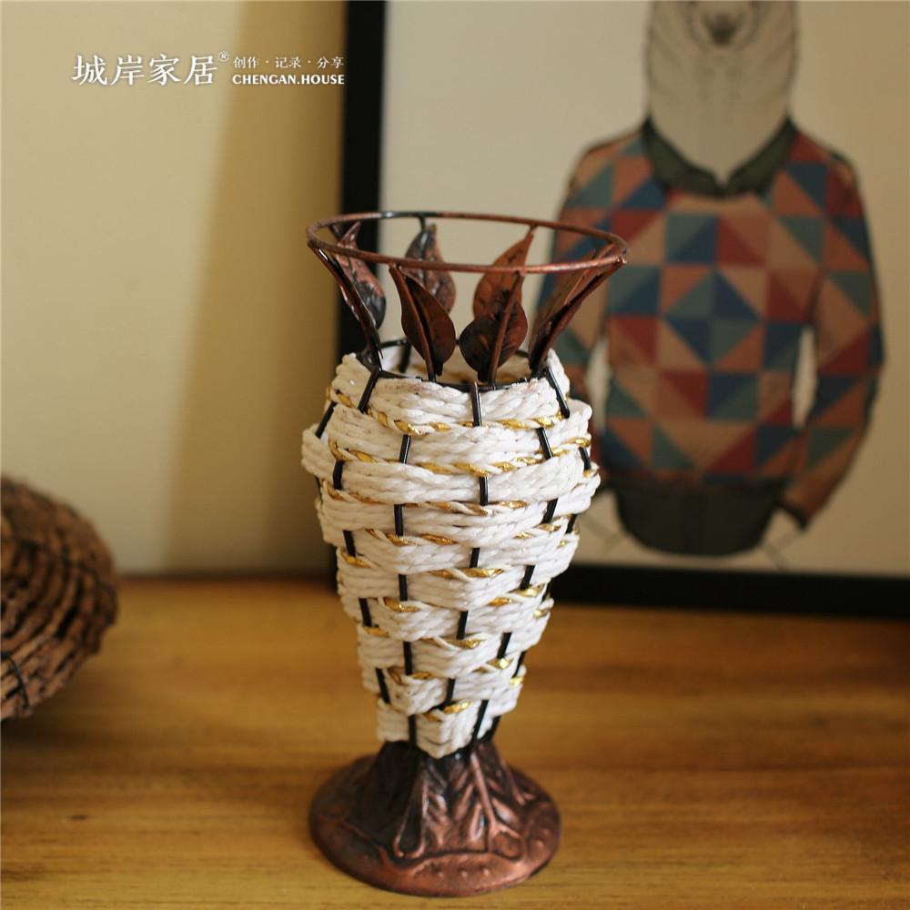 tejida a mano de estilo pastoral americana hierro floreros jarrones de decoracin del hogar creativo de