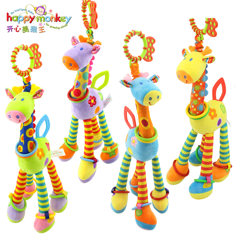 Happy Monkey Plush Infant Baby Development Soft Giraffe Animal Handbells Rattles Handle Toys Hot Selling WIth Teether Baby Toy