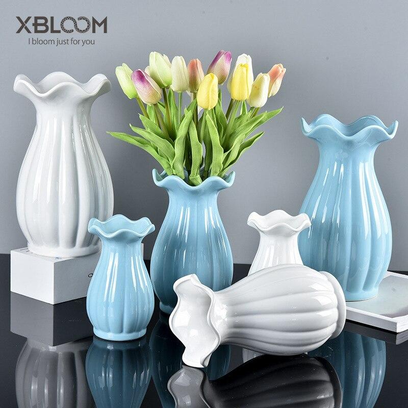 Modern home decoration vase fashion white ceramic vase ...