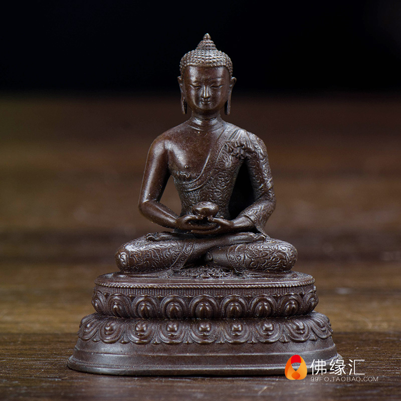 Tibet temple Hand carved Buddha statue copper amulet  Figurines Decoration