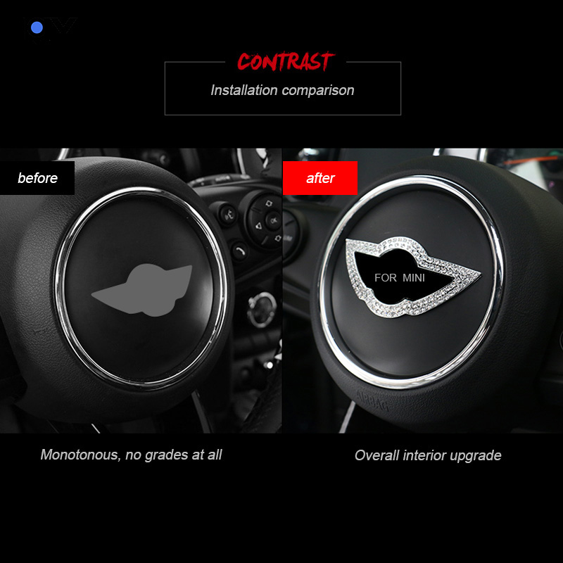 LQY car sticker 3D steering wheel standard crystal diamond decoration for BMW mini cooper F54 F55 F56 F57 in Automotive Interior Stickers from Automobiles Motorcycles