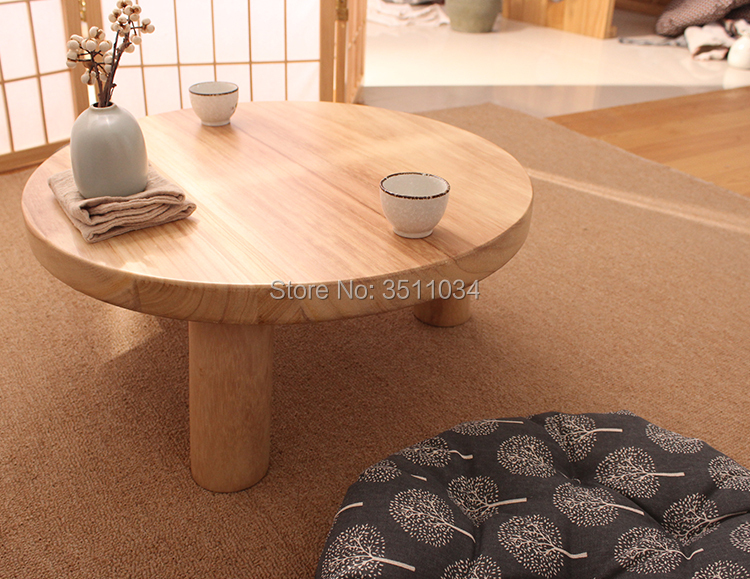 japanese style burlywood color round table paulownia wood traditional asian furniture living room low floor coffee table wooden