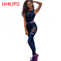 Women Fitness Yoga Set Sexy Mesh Patchwork Gym Running Jumpsuits Sportswear One Piece Sports Suit Black