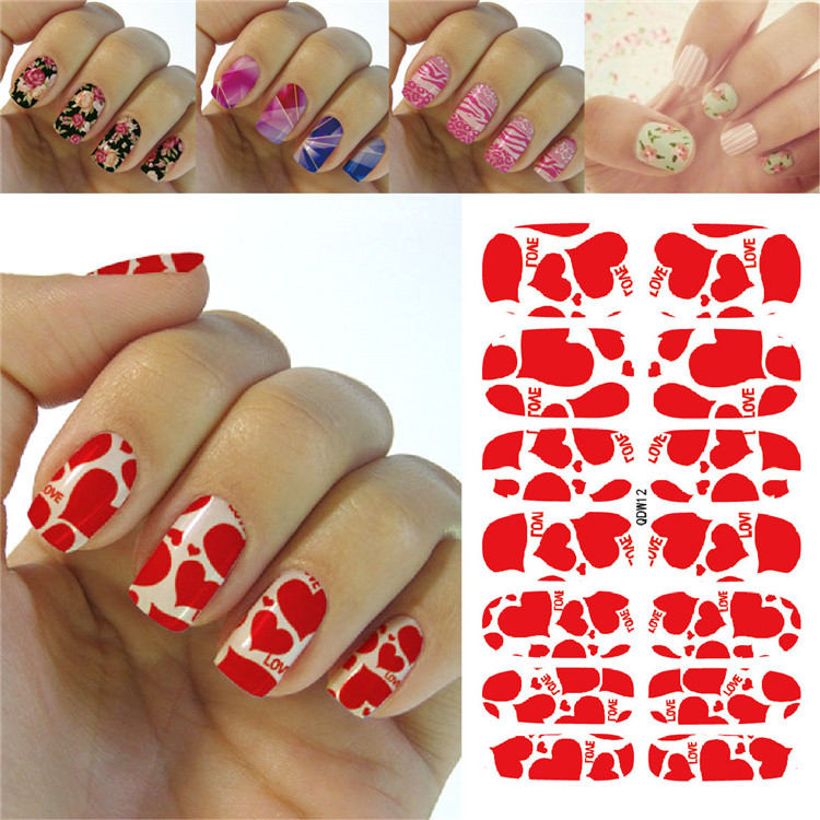 K5682 2016 Water Transfer Foil Nails Art Sticker Fashion Deed Red Love Hearts Manicure Decor Decals Wraps Foil Stickers for Nail