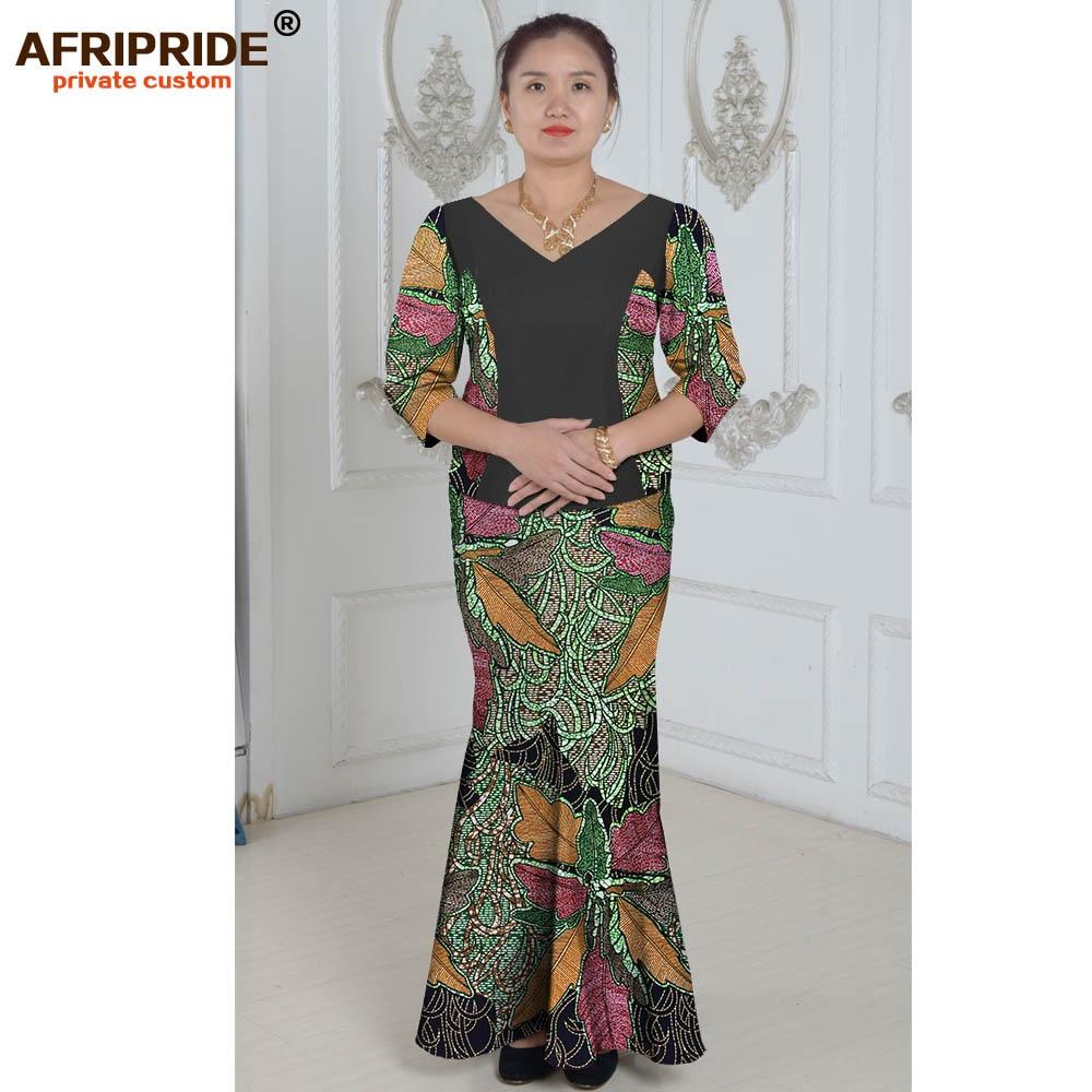 الملابس الأفريقية قطعتين تناسب الصيف فستان الأميرة للمرأة الأنماط التقليدية الأفريقية طباعة القطن الشمع زائد الحجم A632604
