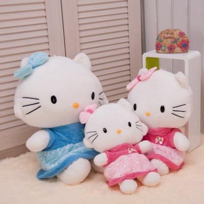 ФОТО Cute Hello Kitty plush toys, dolls lovers KT cat, wearing a skirt Hello Kitty stuffed toys send girls birthday / Christmas gift
