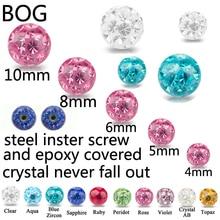 Extern Körper Schmuck Piercing Ersatz Ball  Multi Kristall Ferido Epoxy bedeckt Ball Für 16g & 14g Hufeisen bauch Barbell