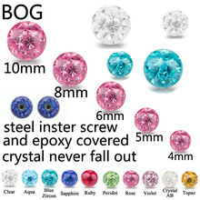 Externally Body Jewelry Piercing Replacement Ball  Multi Crystal Ferido Epoxy covered  Ball For 16g&14g Horseshoe Belly Barbell