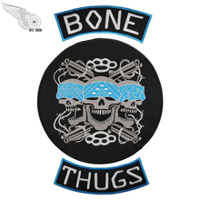 Bone Thugs Skull gun embroidery iron on backing patches for clothing biker applique application