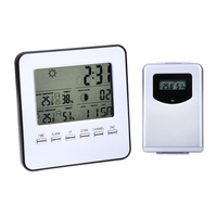Digital Wireless Indoor Outdoor Weather Station Temperature Humidity Meter Sensor Hygrometer Clock Digital Thermometer