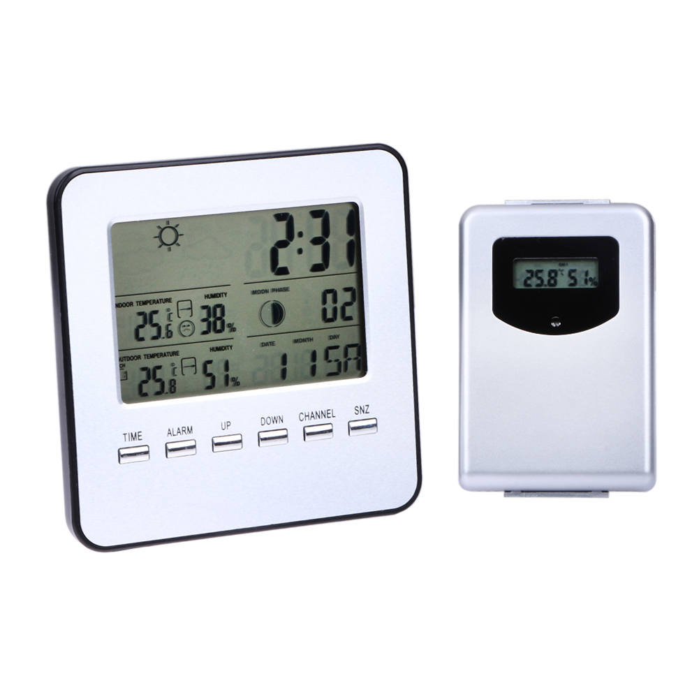 Digital Thermometer Wireless Weather Station Temperature Meter Hygrometer Indoor/Outdoor LCD Calendar Clock Alarm wireless weather station indoor hygrometer indoor