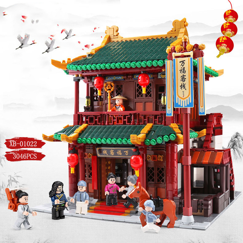 XINGBAO 01022 3046Pcs Chinese Building Series The Wanfu Inn Set Building Blocks Bricks Educational Techine Toys Children Gifts