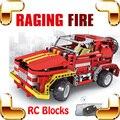 Nueva Idea de regalo fuego que rabia 4CH RC bloques Jeep del coche eléctrico del Control de Radio del vehículo camión DIY juego de carreras de diversión fósforo niños juguetes