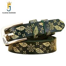 Fashion Ladies Quality 100% Cowskin Leather Black Belt Floral Leaves Retro Clasp Style Cowhide Belts for Women Leather N17FJ056