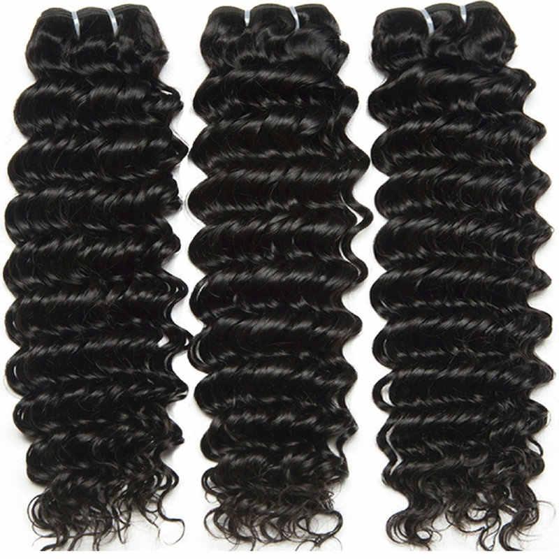 Индийский пучки вьющихся волос Yavida 100% подвергавшиеся химическому воздействию) вплетаемые волосы натуральный Цвет не Волосы remy расширение пучки волос глубокая волна 1/3/4 шт.