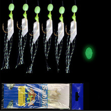 5Pcs/bag Glow in the Dark Fishing Hair Rigs Already Tied High Carbon Steel Hooks with Smelly Fish Skin and Feather