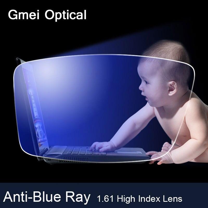 Lentilles optiques de Prescription de myopie d'index élevé de la lentille 1.61 de rayon Anti-bleu pour des lunettes de lecture de Protection d'oeil