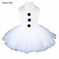 Baby Kids Girls Christmas Dress White Party Tutu Dress Snowman Olaf Cosplay Costume Tulle Princess Girl Dresses With Headband