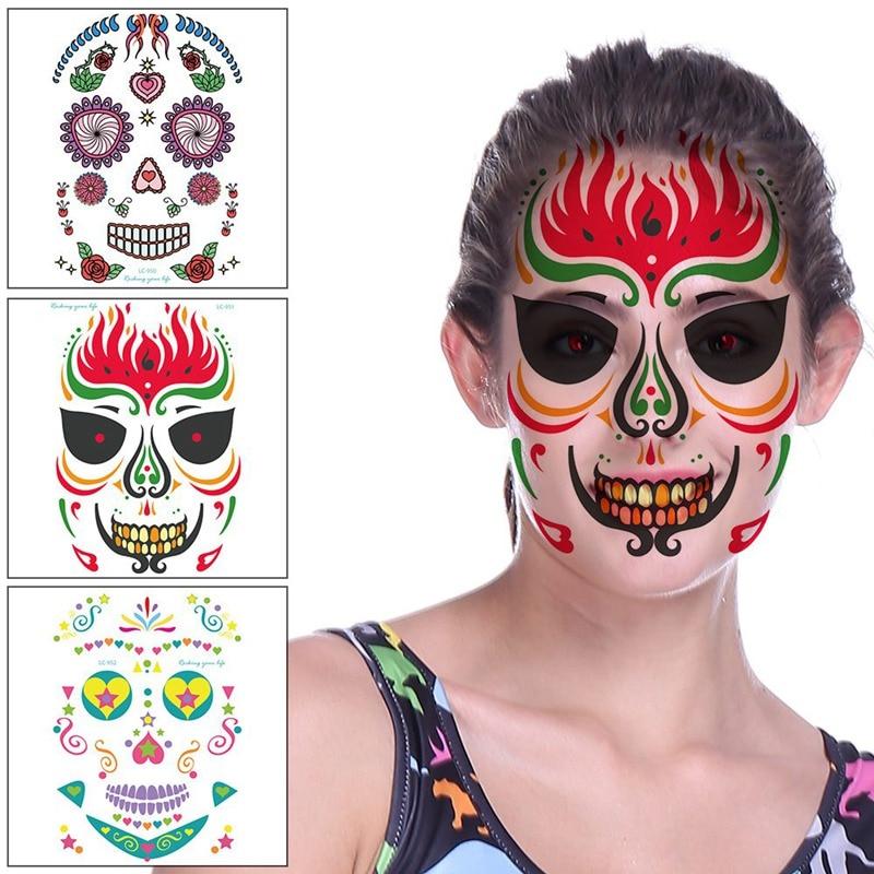 New Halloween Temporary Tattoo Sticker Haicar 2pcs Day Of The Dead