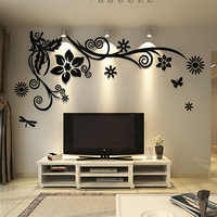 3d acrílico flor videira adesivos de parede diy arte presente para decoração casa tv sofá fundo cristal espelho adesivos muraux tamanho grande