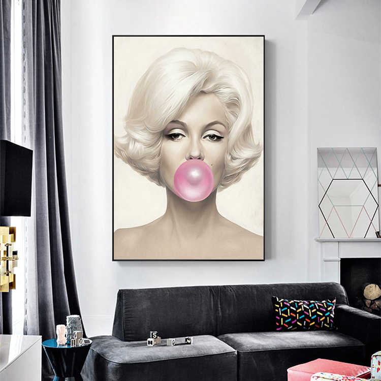 نجوم الشهيرة الملصقات والمطبوعات أودري هيبورن مارلين مونرو فقاعة اللثة الجدار ملصق فني الفن الحديث جدار صورة امرأة ديكور المنزل