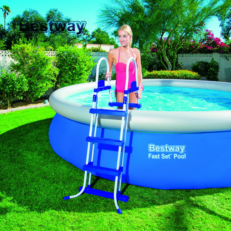 58330 Bestway 42/1.07m Safety Pool Ladder Specially Designed Ladder for Above Ground Swimming Pool of Height 1m Pool Staircse 58330 bestway 42 1 07m safety pool ladder specially designed ladder for above ground swimming pool of height 1m pool staircse