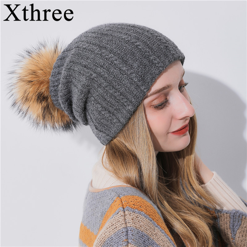 Xthree Multipurpose Winter Women's Hat With Raccoon Pom Pom Beanies Hat Cashmere Knitted Hat Keep Warm  Gorro Wool Hat Brand