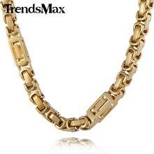 Trendsmax Personalizar Cualquier Longitud de 7/8mm Chapado En Oro Caja Bizantina Griega Chicos Collar Para Hombre de Acero Inoxidable del Acoplamiento de Cadena KN267 KN280
