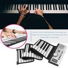 61 клавиша 128 тонов закатать электропианино клавиатура портативная цифровая клавиатура пианино гибкий перезаряжаемый музыкальный инструмент