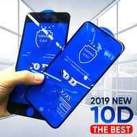 10D vidrio templado en El para iPhone X 7 8 6 Plus Protector de pantalla cristal Protector completo para iPhone 6 6 s 7 7 XR XS Max película