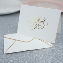 25set gold thank you fold card simple design Thanks giving Day Card send Lucky Love wedding Party cards Invitation with envelope 25pcs mini thank you card gold with blue envelope leave message cards lucky love valentine christmas party invitation letter