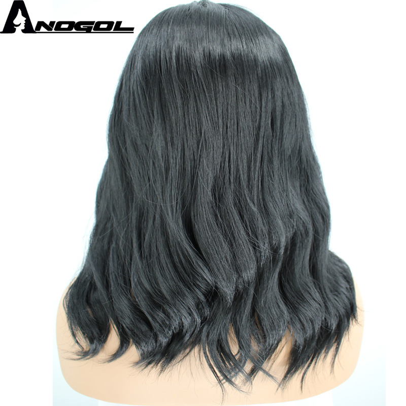 Anogol High Temperature Fiber Long Natural Wave Black Synthetic Wig For Women With Flat Bangs