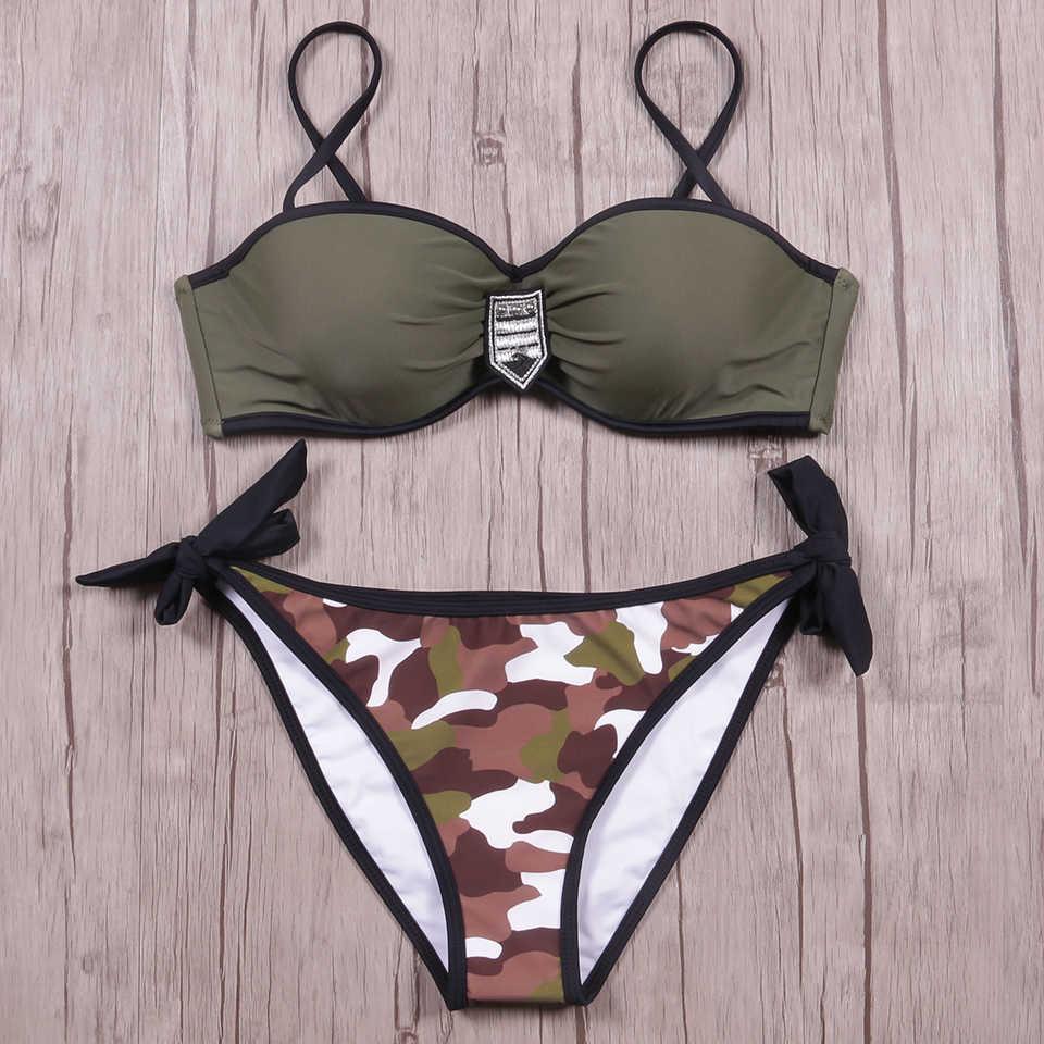 6012823f35f4e ... KayVis 2019 Sexy Camouflage Bikini Women Swimwear High Neck Leopard  Bikini Set Swimwear Halter Bathing Suits ...
