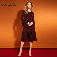 Clocolor Women Dress 2017 New Mermaid Brief Flare Sleeve Party Shopping Round Neck Red Coffee Mid