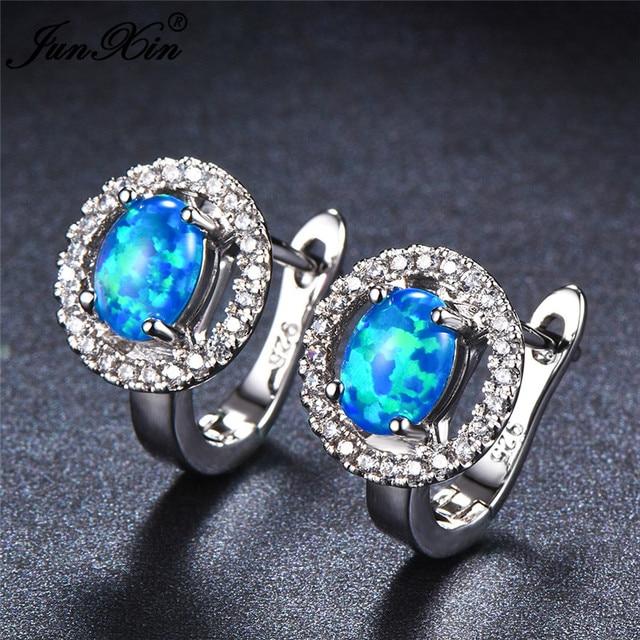 JUNXIN Cute Female Small Round Hoop Earrings Boho Blue ...
