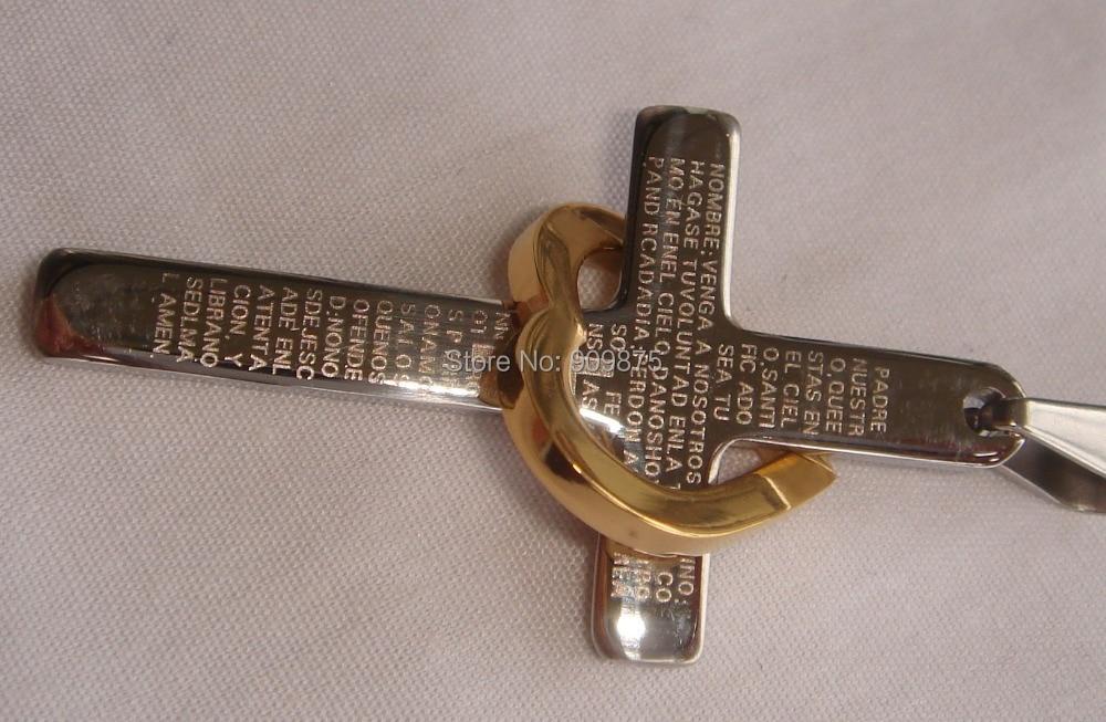 Прохладный 2 тона позолота сердце Библия Крест 316L нержавеющая сталь ожерелья и кулоны Бесплатная доставка Мужчины ювелирные изделия
