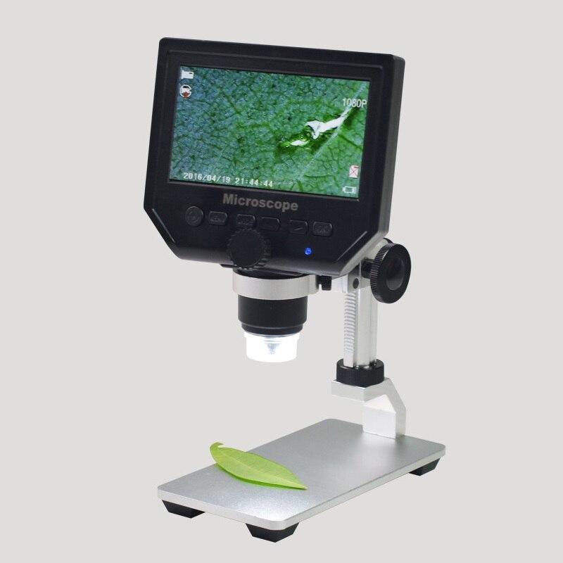 3.6MP 600X Zoom USB Microscópio Digital com Base de Liga de Alumínio de 4.3 Polegadas Display LCD para Inspeção PCB Do Telefone Móvel Reparação