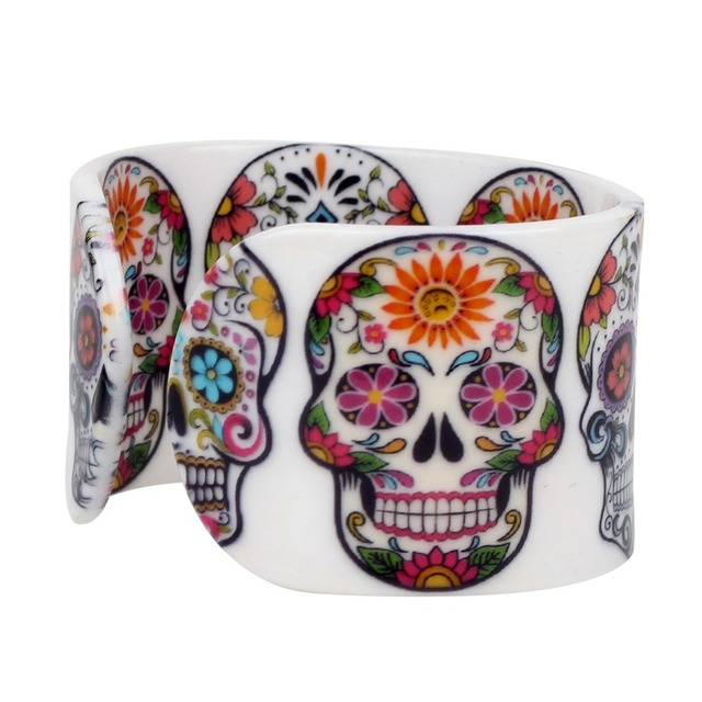 Bonsny Plastic Floral Halloween Smile Skeleton Skull Bangles Bracelets Punk Indian Craft Jewelry For Women Girls Teens Accessory 2