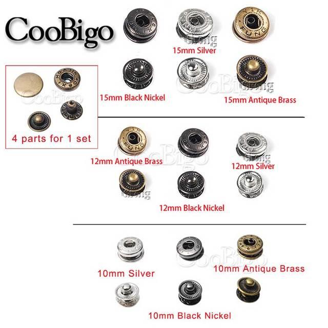 12 SET/Pack botones de presión de Metal botones de coser sujetadores de presión de coser bolsos de ropa artesanal de cuero