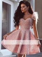Розовый 2019 Homecoming платья трапециевидной формы милая жемчуг перо Короткие мини элегантные коктейльные платья