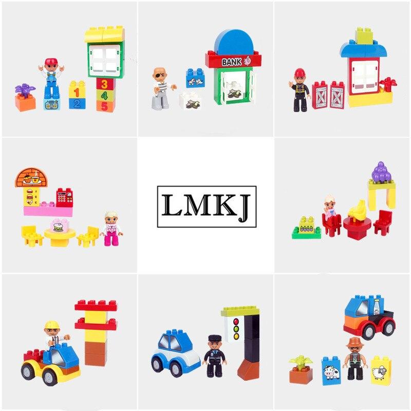Big Particle Original Classic Diy Building Block Family Figure Creative Compatible With Duplo House Set Brick Toys For Children